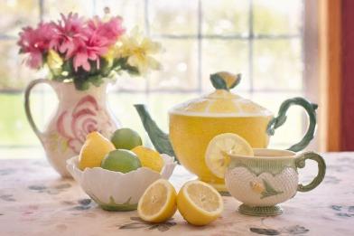 Flowers In Pitcher Still-life Tea With Lemon Tea Pot
